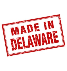 Delaware red square grunge made in stamp vector