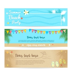Set of summer beach and sea banner background vector