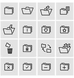 Line folder icon set vector