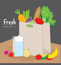 Bag shopping market fruit vegetable cook cartoon v vector