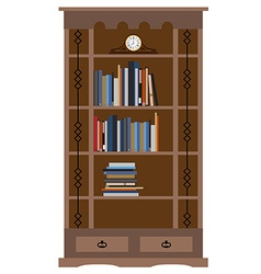 Bookcase with old shelf clock vector image vector image
