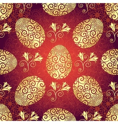 Bright red pattern with Easter golden eggs vector image vector image