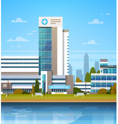 building of modern hospital clinic exterior vector image