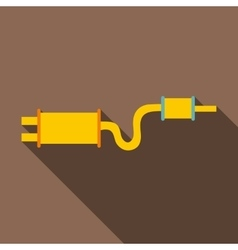 Car exhaust pipe muffler icon flat style vector image