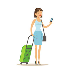 Cheerful woman standing with travel suitcases and vector