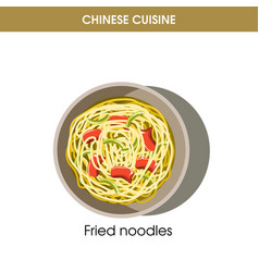 Chinese cuisine fried noodles traditional dish vector