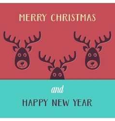 Christmas card with reindeers vector image vector image