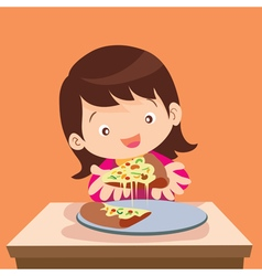 cute girl eat pizza vector image