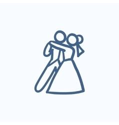 First wedding dance sketch icon vector