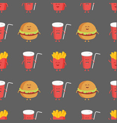 Franch fries burger and cola seamless pattern vector