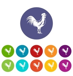 Gallic rooster set icons vector image