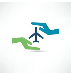 Hands and aircraft the concept of safe flight vector