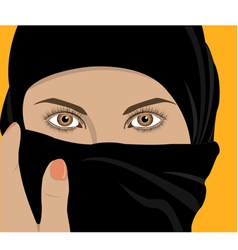 Image of young pretty woman with shawl vector