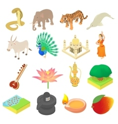 India icons set isometric 3d style vector