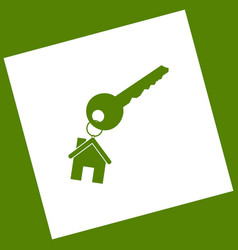 key with keychain as an house sign white vector image vector image
