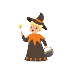 Little boy dressed as a wizard cute kid in vector