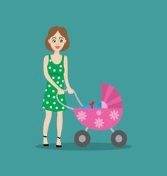 mother with baby in the stroller for a walk vector image vector image