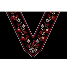 Neck floral embroidery for apparel vector
