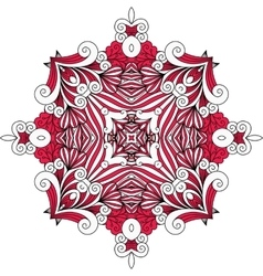 Ornate red symmetrical pattern over white vector