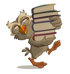 Satisfied owl carries books vector image vector image