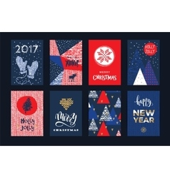 Set of artistic creative Merry Christmas and New vector image