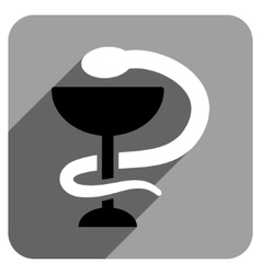 Snake cup flat square icon with long shadow vector