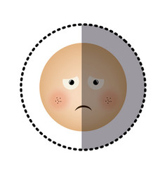 sticker human face emoticon sad expression vector image