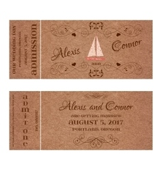 Ticket for wedding invitation with wedding sailing vector