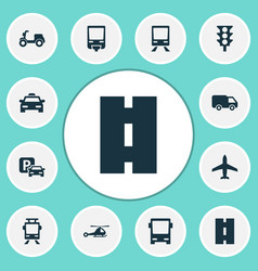 transportation icons set collection of aircraft vector image