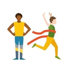 Winning runner winners success sport flat vector image