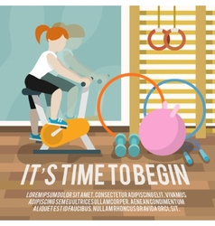 Woman at gymnasium fitness poster vector image vector image