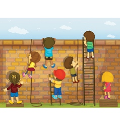 Construction kids vector