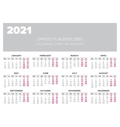 Calendar 2021 year design template vector