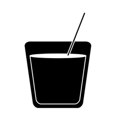 Silhouette glass cocktail drink straw vector