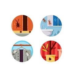 Household vermin set icons vector