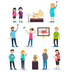 people on excursion set vector image
