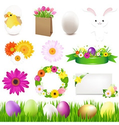 Happy easter icons and green grass vector