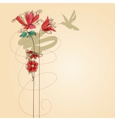 Flowers and colibri vector image