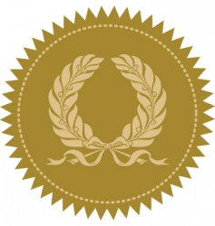 Gold victory wreath seal vector