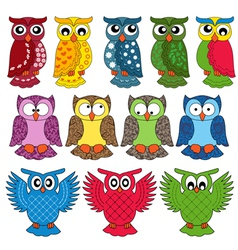 Set of twelve owls vector