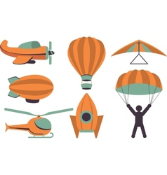 Set of icons aviation vector