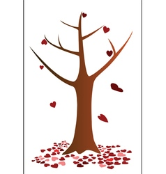 Tree and heart falling down vector image