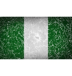 Flags nigeria with broken glass texture vector
