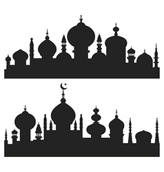 Islamic city silhouettes vector