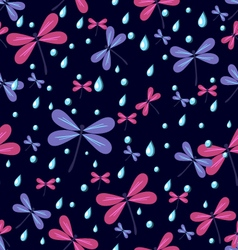 Seamless pattern dragonflies on a dark background vector