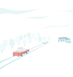 Vehicles traveling through the countryside vector