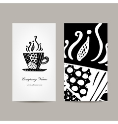 Business card template coffee cup design vector