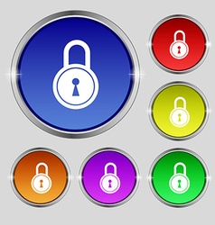 closed lock icon sign Round symbol on bright vector image