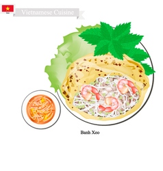 Banh xeo or vietnamese crispy pancakes with shrimp vector