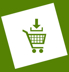 Add to shopping cart sign white icon vector